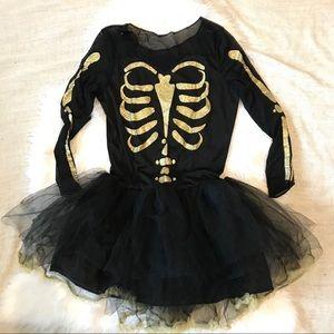 Girls Holloween Black Gold Skeleton Dress Costume